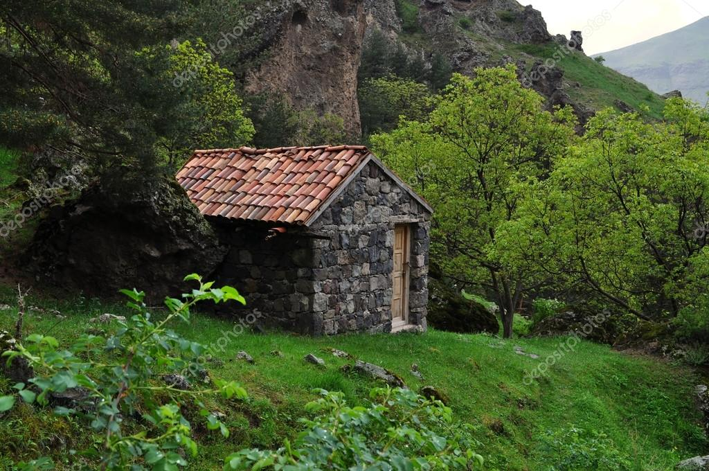 A Small House In The Mountains Of Georgia Stock Photo