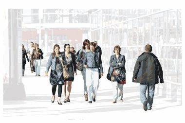 Bustling shoppers