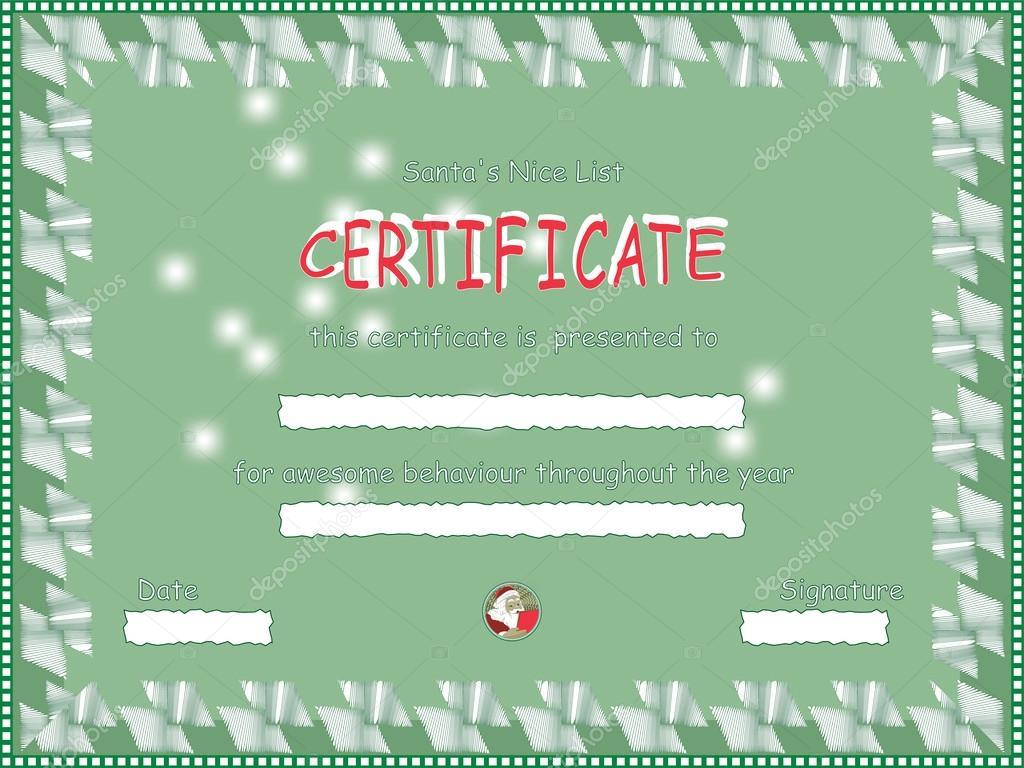 schöne Liste Zertifikat vom Weihnachtsmann — Stockvektor © zarja ...