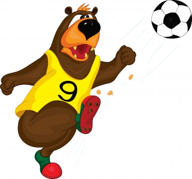The Bear in a vest kicks the ball