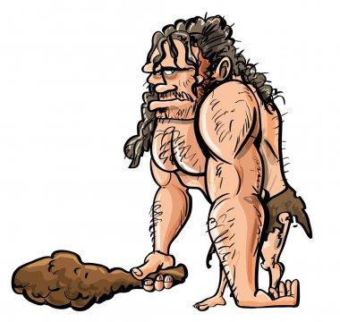 Cartoon caveman with wooden club