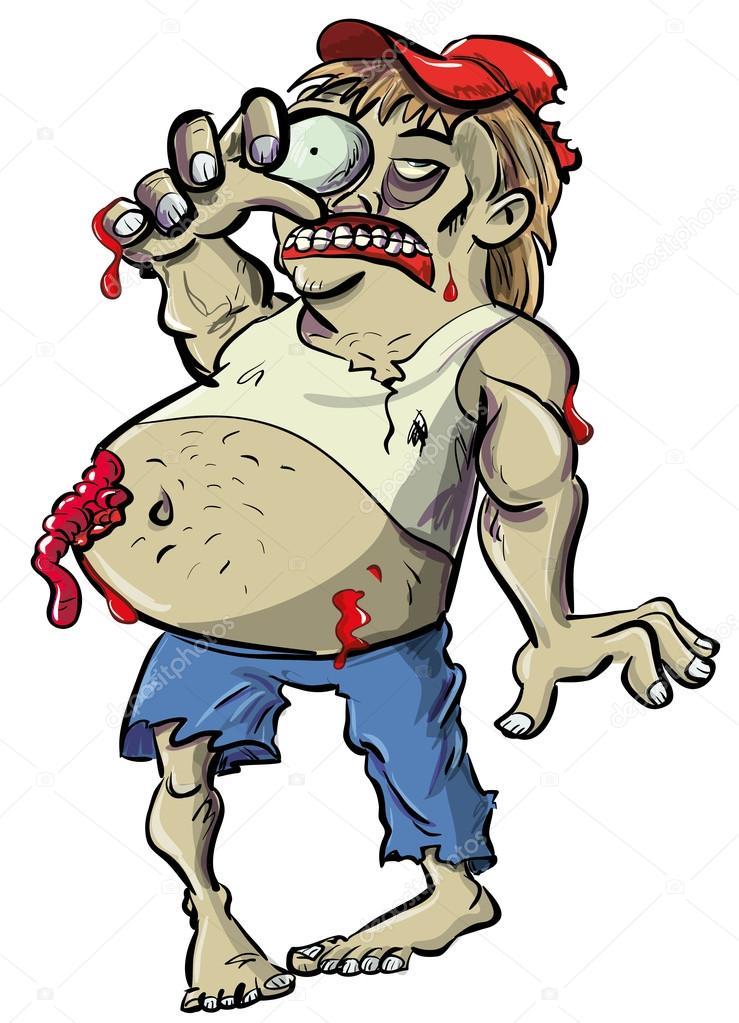 Cartone animato di zombie collo rosso con pancione