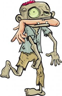 Cartoon zombie carrying a human arm in his mouth