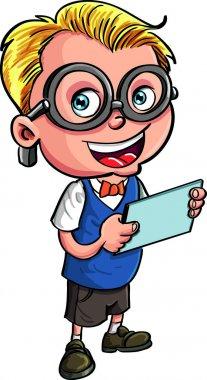 Cute Cartoon nerd holding a tablet computer
