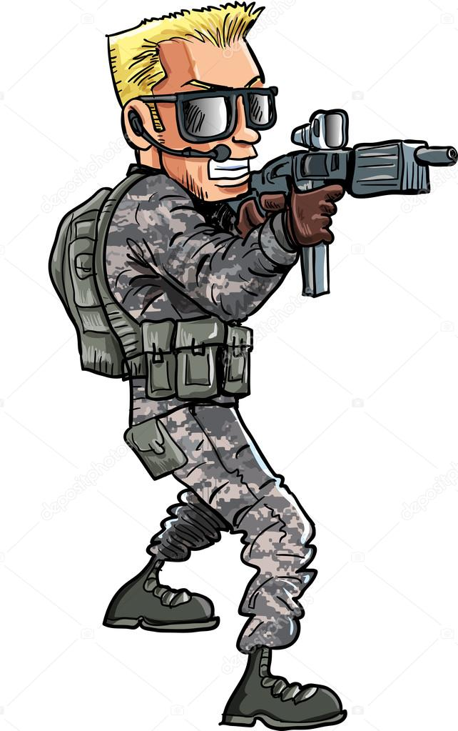 desenho de um soldado com uma sub metralhadora vetor de stock