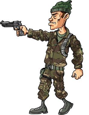 Cartoon soldier with a handgun illustration