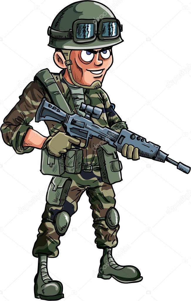 Illustration of cartoon soldier with a rifle Isolated stock vector