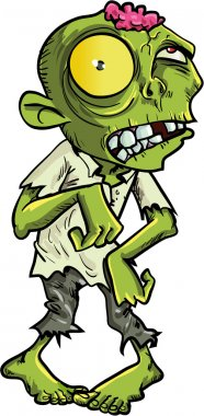 Cartoon zombie with a big yellow eye