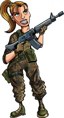 Cartoon female soldier with assault rifle