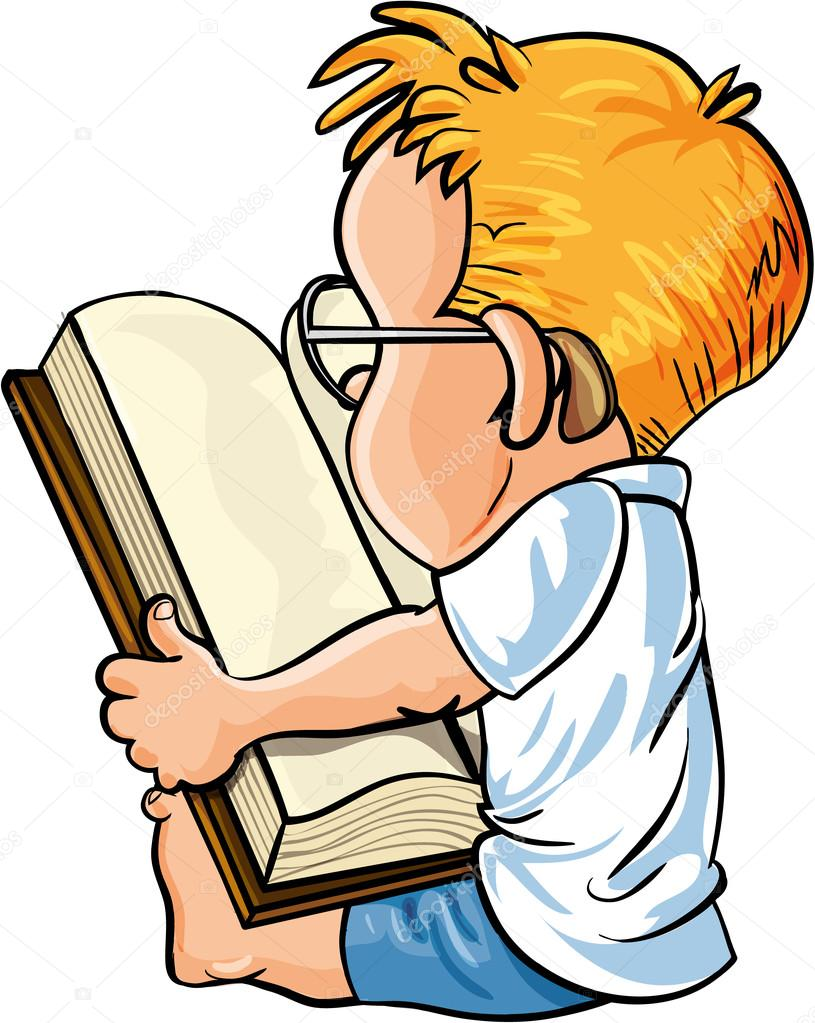Petit gar on lire un gros livre de dessin anim image - Dessin petit garcon ...