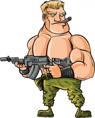 Cartoon muscle soldier with big machine gun. Isolated stock vector