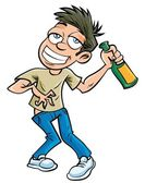 Cartoon drunk man with champagne bottle