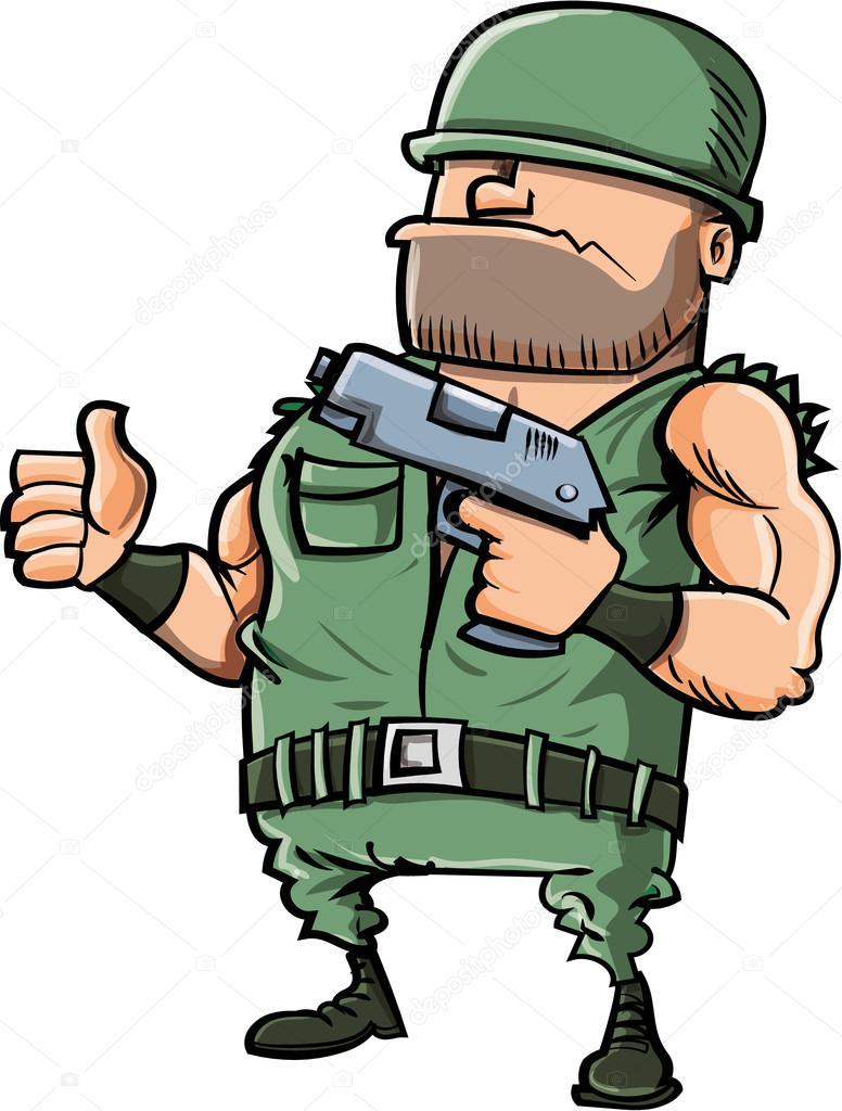 Soldat de dessin anim qui donne un coup de pouce vers le haut image vectorielle antonbrand - Dessin de soldat ...