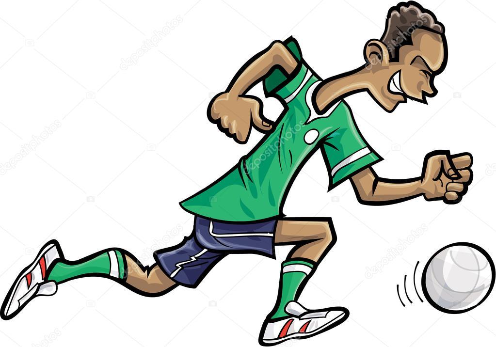 Giocatore di gioco del calcio dei cartoni animati — Vettoriali ...