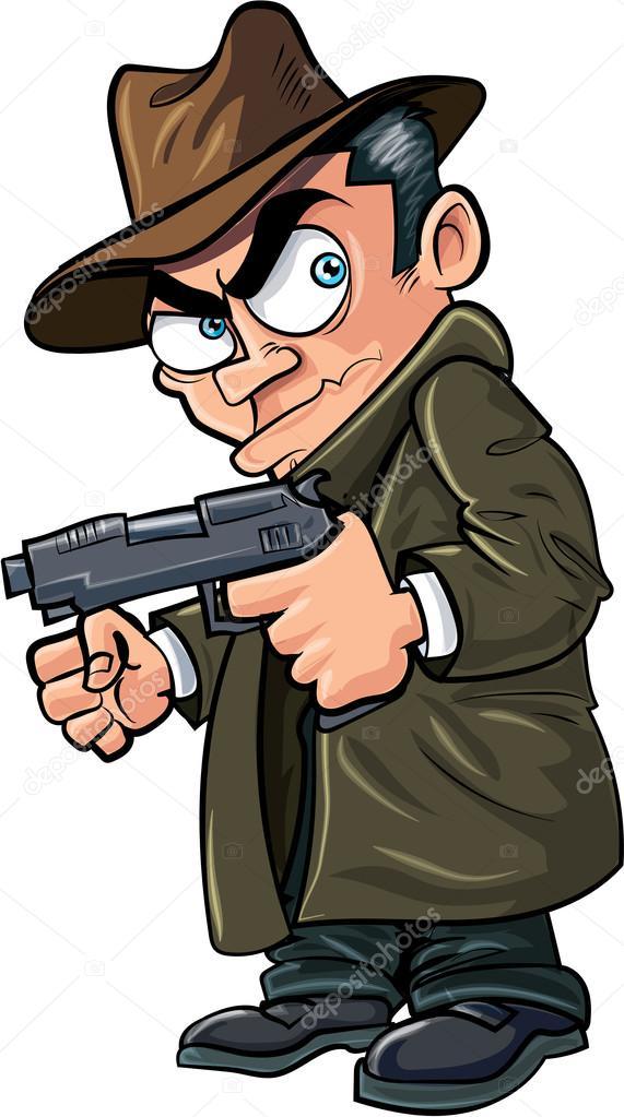 Gangster di cartone animato con una pistola e cappello