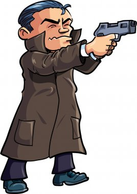 Cartoon agent in a coat with a gun