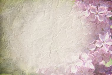 gentle spring grunge texture with flowers blossoming lilac on old paper with pastel colors