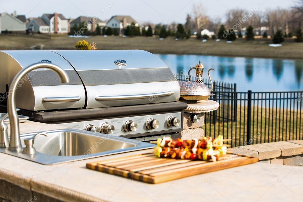 Außenküche Mit Grill : Bauholz außenküche mit grill spüle arbeitstisch etsy