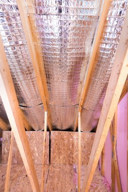 Gable View of Ongoing House Attic Heat insulation Projec