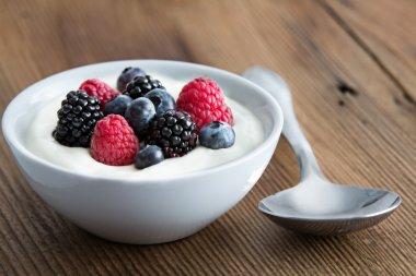 Bowl of fresh mixed berries and yogurt