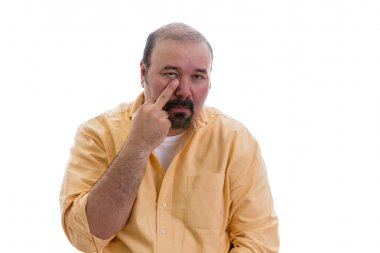 Man gesturing touching his nose with a finger