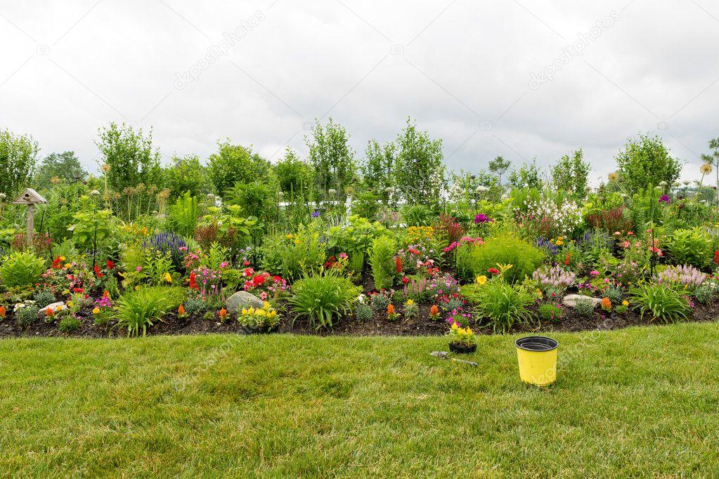 piantare un giardino bellissimo fiore foto stock