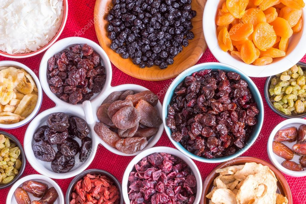 Colorful background of a variety of dried fruits