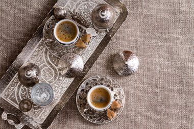 Traditional Turkish coffee for two