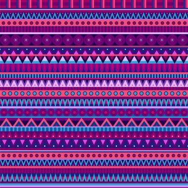 Ethnic vector various strips motifs in different color. Seamless pattern
