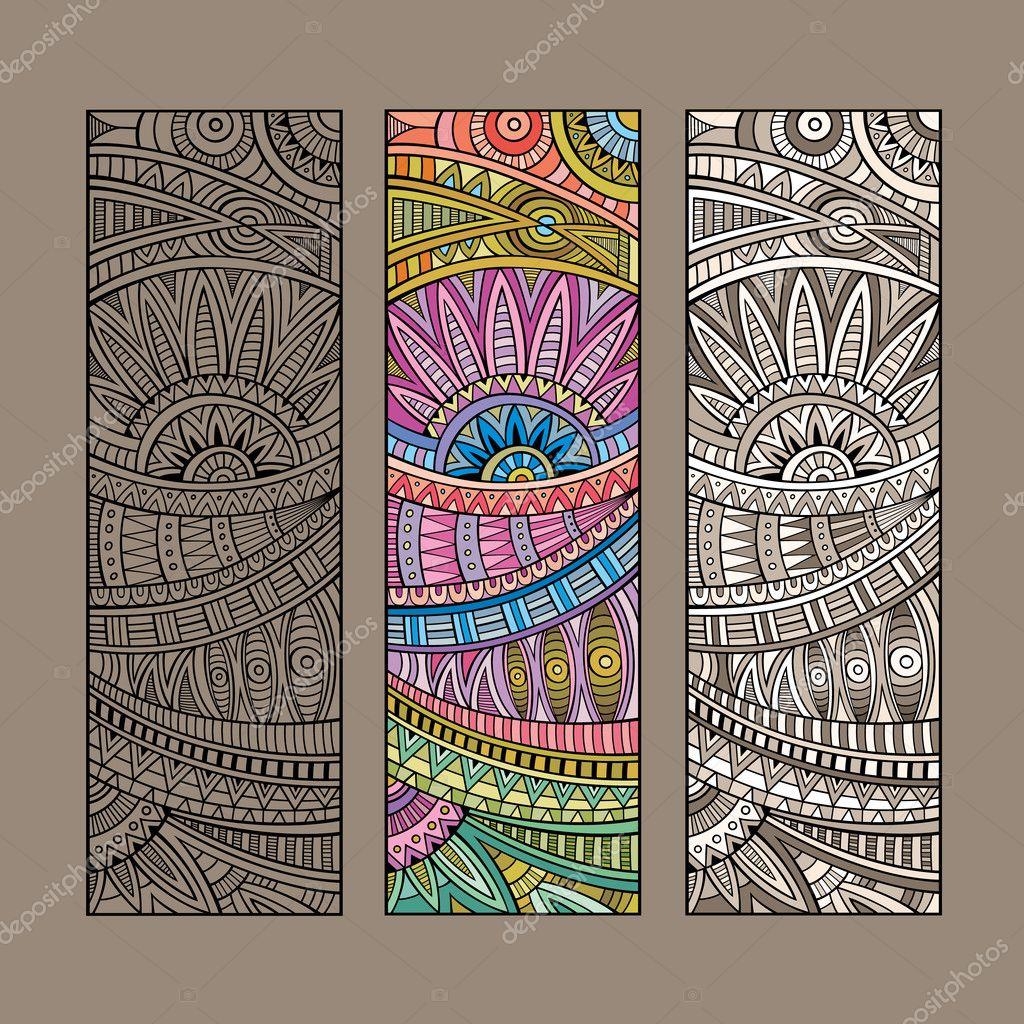Vintage ethnic pattern card set.