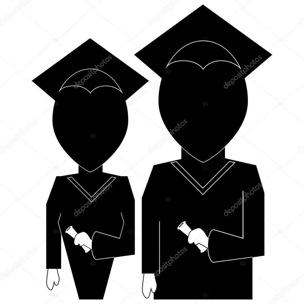 Graduation education icon in silhouette