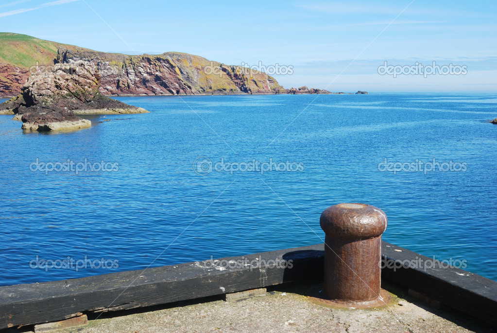 Harbour entrance, cliff and rocks at St. Abbs, Berwickshire