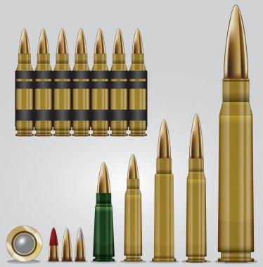Rifle ammunition set. Eps vector graphic. stock vector