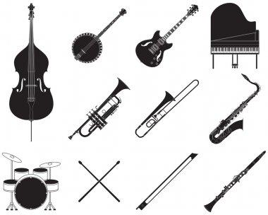 Jazz music instruments set