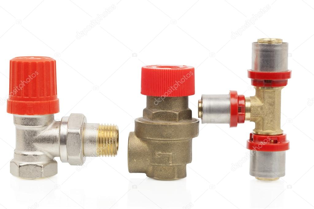 Parts of the heating system on a white background
