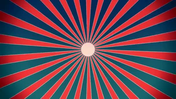 Sunburst v červené a modré retro stylu