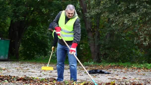 Man collects leaves in the fall episode 6