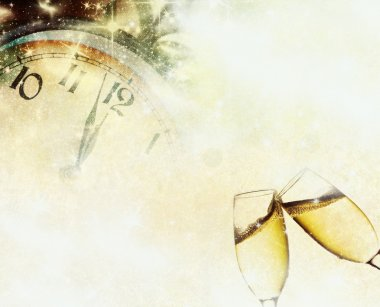 Vintage background with champagne glasses and clock stock vector