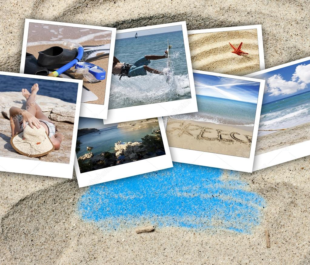 A collage of pictures of many beach items and scenes