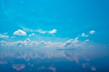 The cloud over lake at Songkla Lake, Thailand.