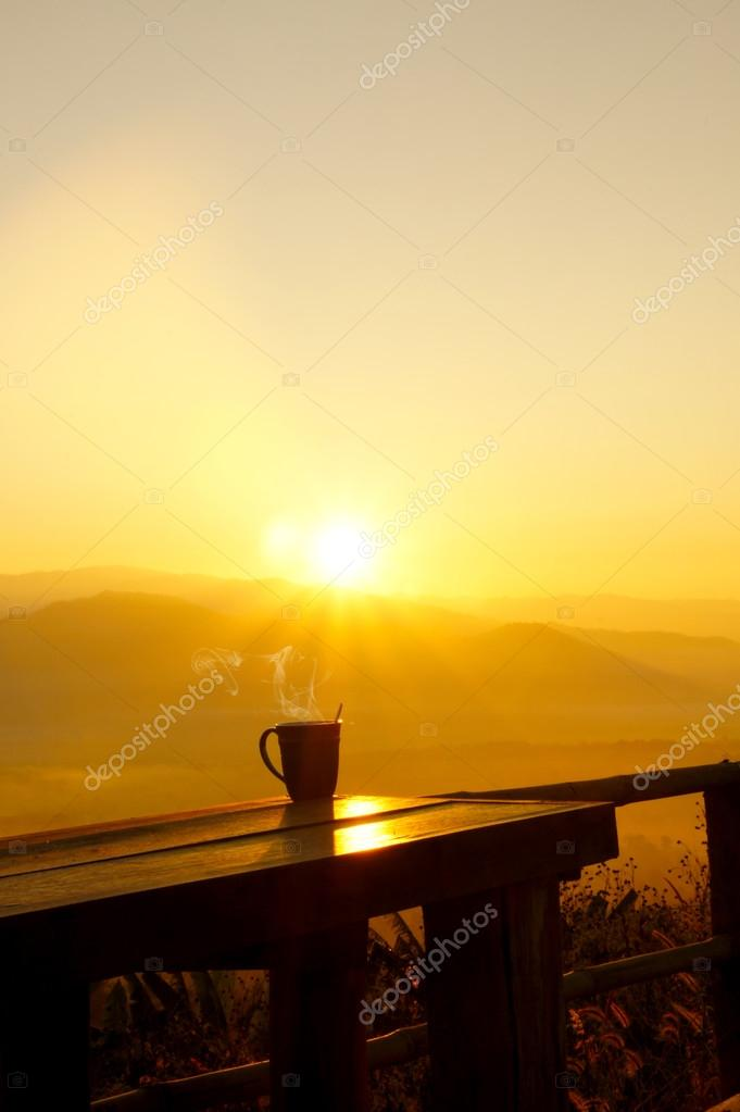 Silhouettes on sunrise morning coffee.