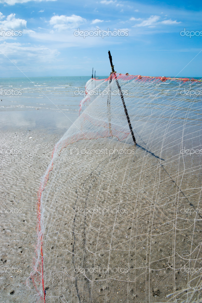 Fishing Net on the beaches at the cape in Southern of Thailand.