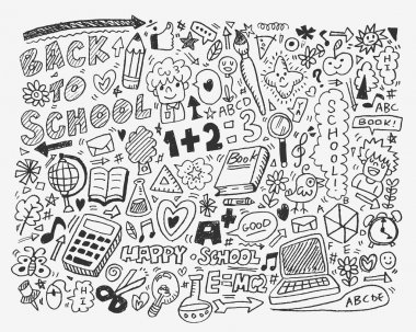 Hand draw school element,cartoon vector illustration clip art vector