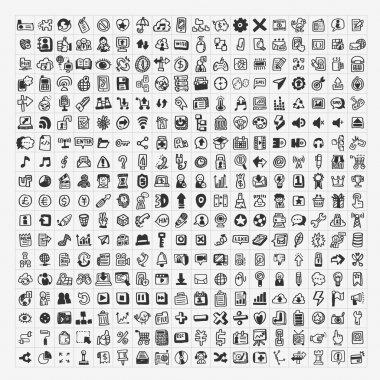100 doodle web icons set stock vector