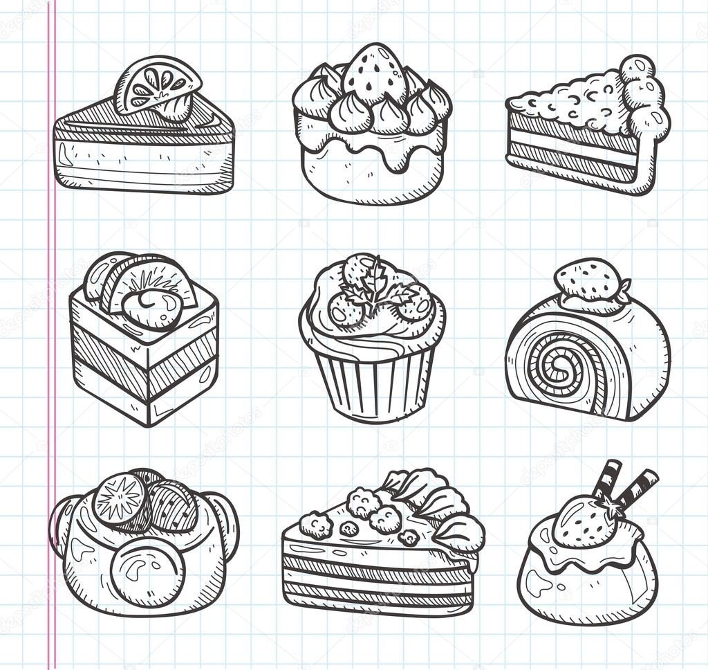 Doodle Cake Icons Stock Vector 169 Mocoo2003 27411633