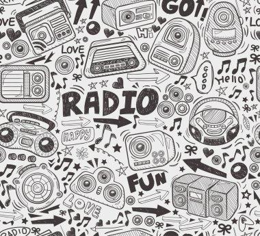 Seamless doodle radio pattern