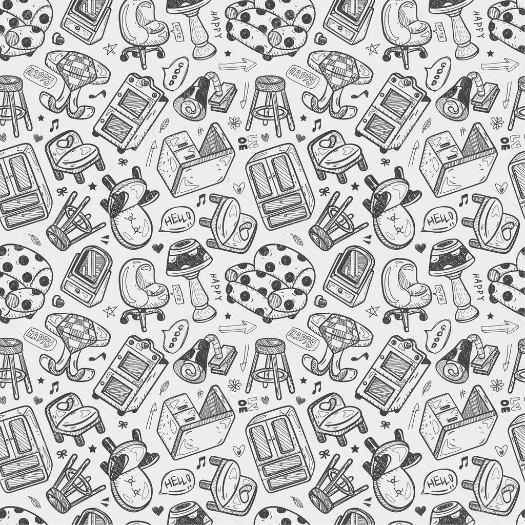 pattern furniture. Seamless Furniture Pattern \u2014 Stock Vector E