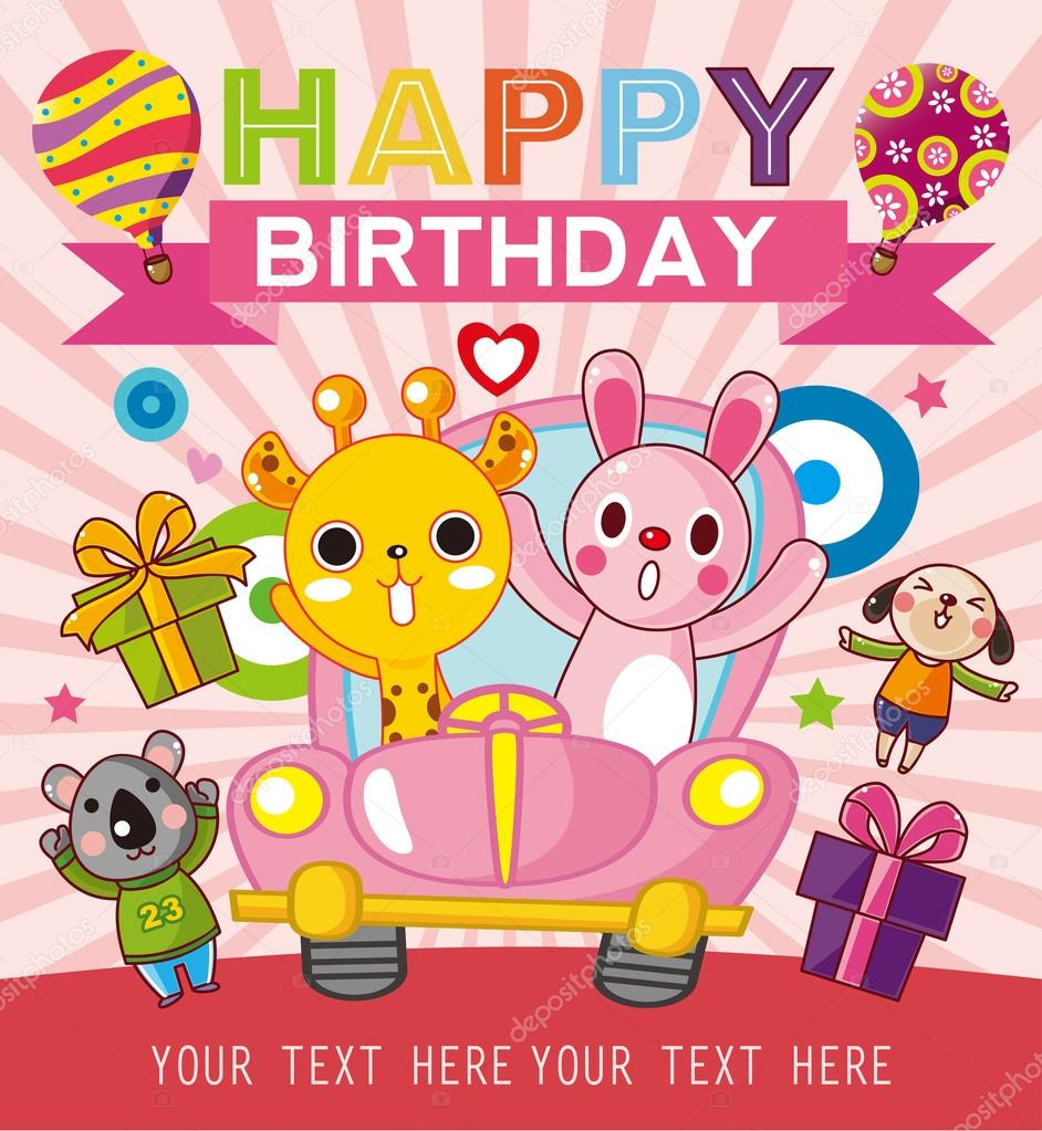 Funny Animal Birthday Card Stock Vector Mocoo2003 30551361