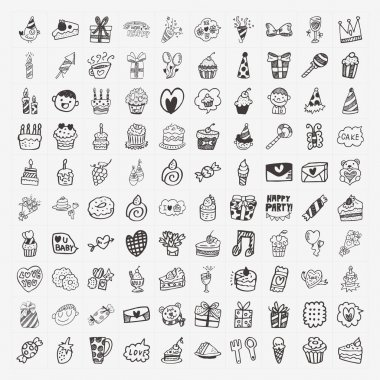100 Doodle Birthday party icons set clip art vector