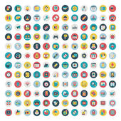 Fotografie Set of vector network and social media icons. Flat icon